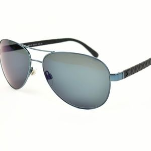 CHANEL Metallic Blue CC Mirrored Sunglasses (au)